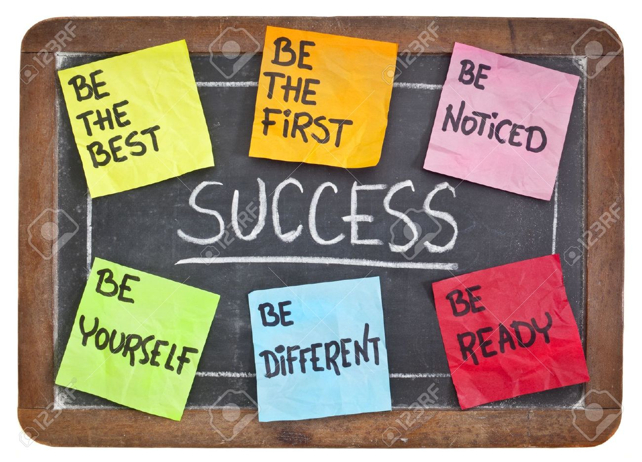 14461873 how to successful concept on a blackboard be the first the best different yourself noticed ready Stock Photo